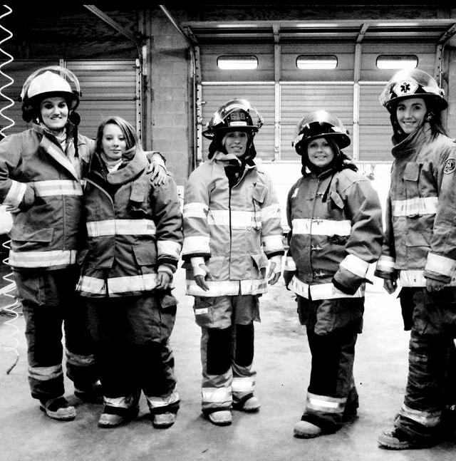 Amanda Clark, Amber Burkett, Kelli Kilpatrick, Paula Rumore and Natalie Medders are a few of the women who volunteer to help local fire departments. (Submitted photo)