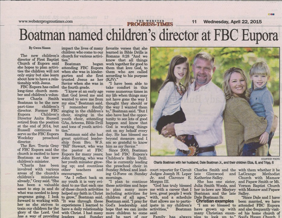 Boatman named children's director 5-22-15